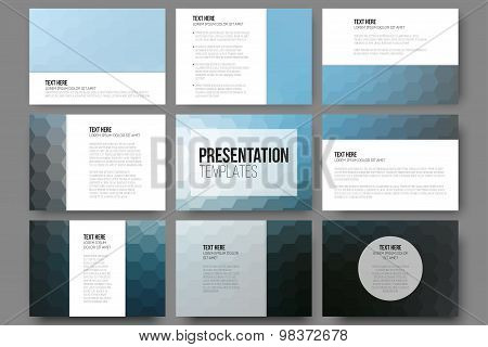 Set of 9 templates for presentation slides. Geometric blurred backgrounds, abstract hexagonal vector