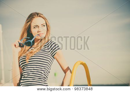 Girl Enjoying Summer Breeze Sky Background