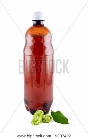 Beer, Plastic Bottle, Hop,  Isolated On White Background.