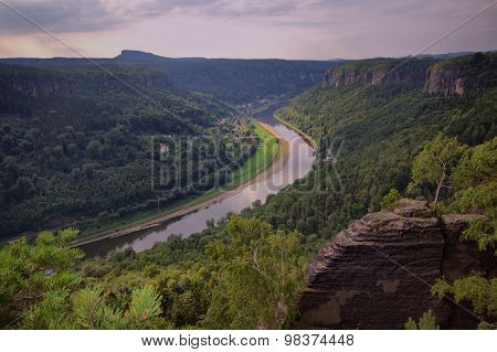Sandstone Rocks And River Elbe