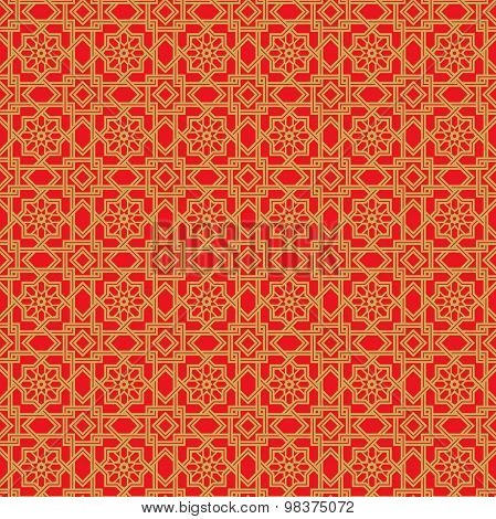 Golden seamless Chinese window tracery double line star flower pattern background.