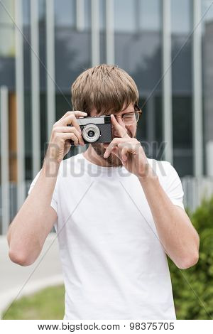 Hipster Photographer At Work