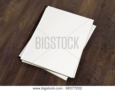 Magazine Cover With Blank White Page Mockup On Vintage Wooden Substrate