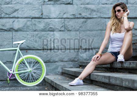 Girl Spending Leisure Time