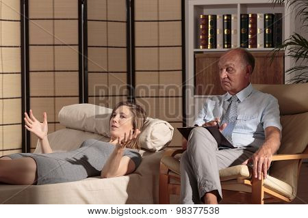 Female On Consultation With Psychotherapist