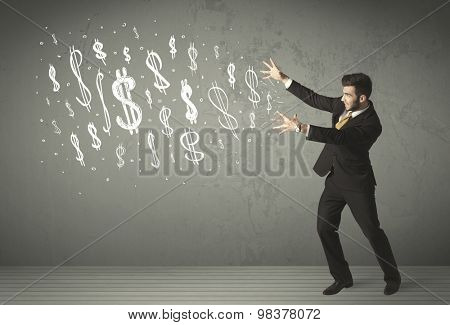 Young business people with hand drawn dollar signs concept