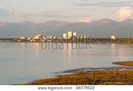 Sunset Downtown City Skyline Anchorage Alaska North America Usa