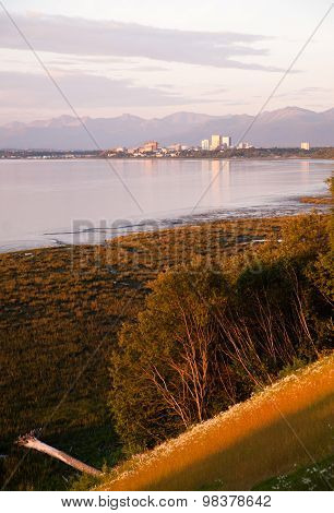 Sunset Downtown City Skyline Anchorage Alaska North America Usa