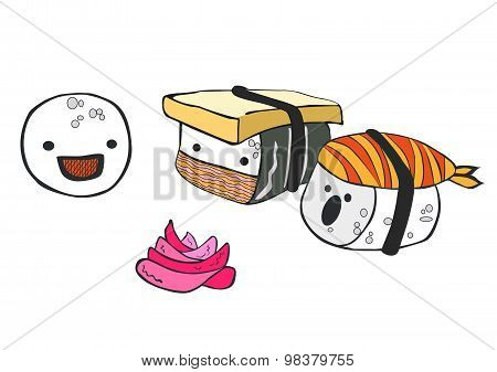 Funny cartoon little sushi communicate with each other