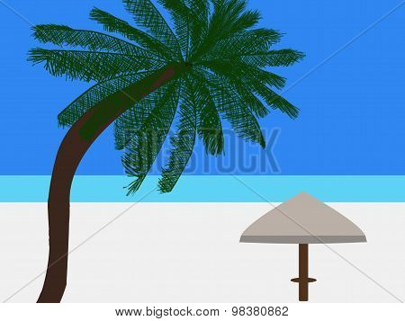 Tropical Beach Scene With Coconut Palm Tree And Parasol