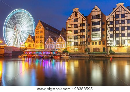 Old Town and Motlawa River in Gdansk, Poland