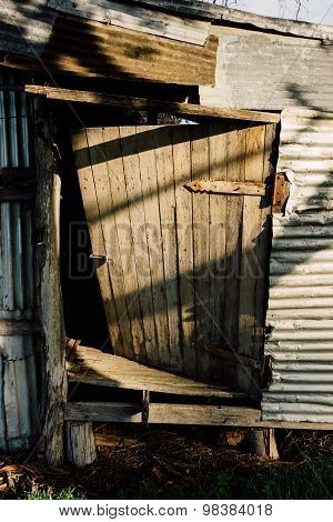 Timber Door Of A Deserted Barn