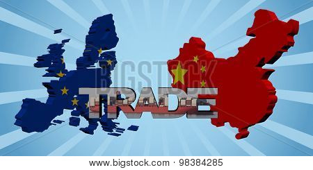 EU and Chinese map flags with trade text illustration