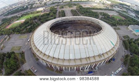 MOSCOW - AUG 16, 2014: Luzhniki Olympic Complex, aerial view. Since 2013 the stadium is closed for renovation, aerial view