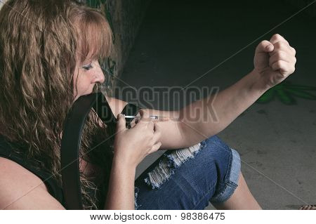 A woman having bad time in a tunnel