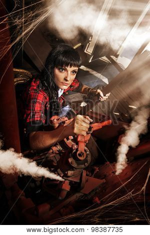 Machinist Woman In The Cabin Of An Old Train.