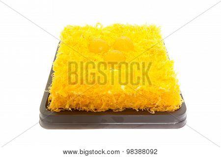 Thai Dessert, Foythong Cake Or Gold Egg Yolks Thread Cake Is A Dessert Of Thailand