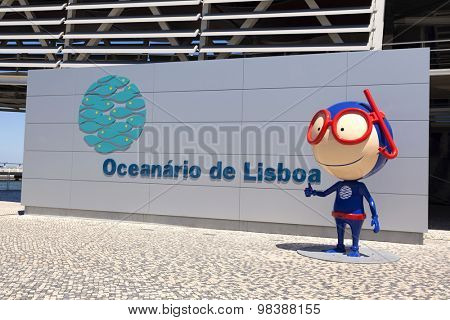 LISBON, PORTUGAL - July 27: The Lisbon Oceanarium and Vasco mascot (Oceanario de Lisboa) on July 27, 2015 in Lisbon, Portugal