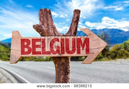 Belgium wooden sign with road background