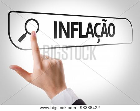 Inflation (in Portuguese) written in search bar on virtual screen