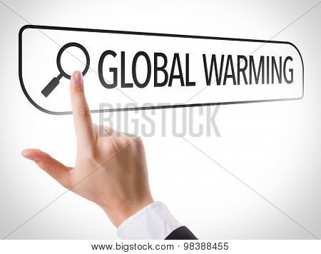 Global Warming written in search bar on virtual screen