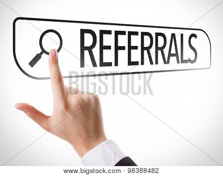 Referrals written in search bar on virtual screen