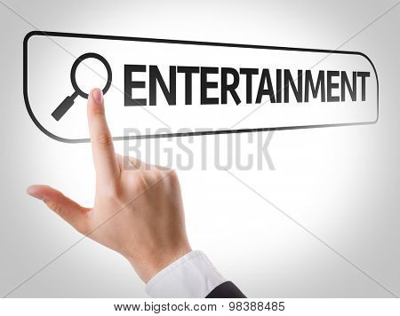 Entertainment written in search bar on virtual screen