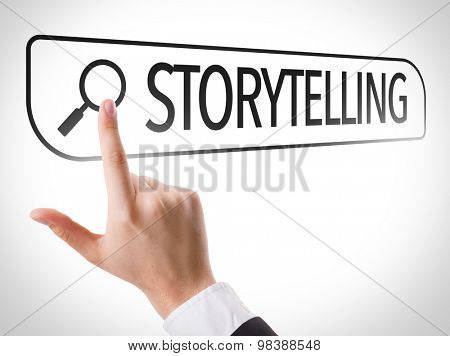 Storytelling written in search bar on virtual screen