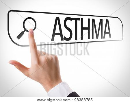 Asthma written in search bar on virtual screen