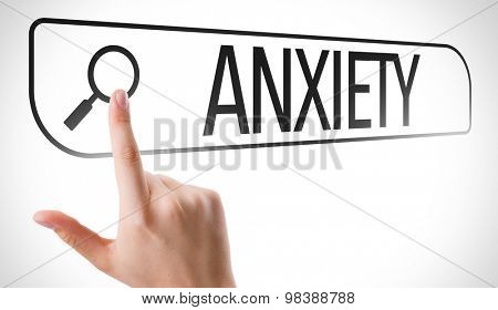 Anxiety written in search bar on virtual screen