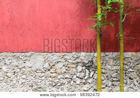 Closeup Of Half Red Half Gray Stone Wall And Two Bamboo