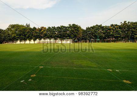 Football Or Soccer Field In The School