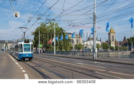 Tram Passing The Bahnhofbruecke Bridge In Zurich
