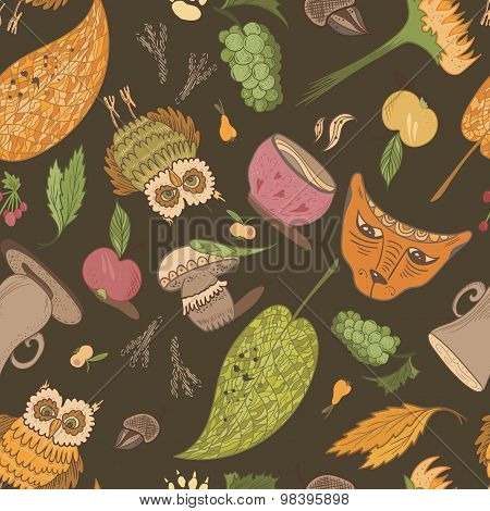 Fall Forest Vector Pattern