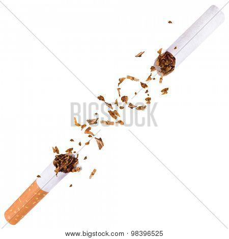 Broken cigarette isolated.