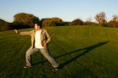 foto of shotokan  - shotokan karate training in park in the afternoon - JPG