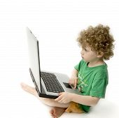 Child Staring At Laptop poster