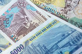 foto of dong  - Background from banknotes - JPG