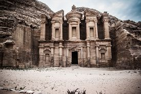 picture of treasury  - The Treasury main facade in Petra - JPG
