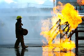 image of firefighter  - Firefighters training The Employees Annual training Fire fighting - JPG