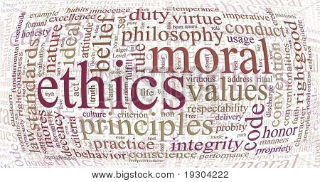 word or tag cloud of ethics morals and values words