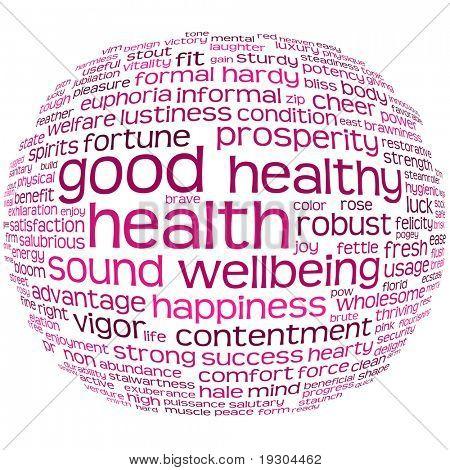 buena salud y bienestar etiqueta o palabra nube