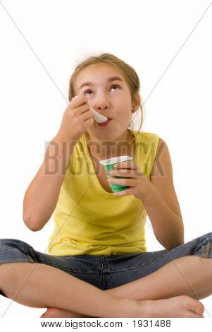 Girl Eating Yoghurt Iv