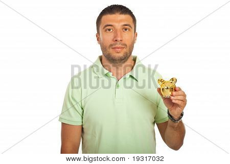 Casual Mid Adult Man Holding Piggy Bank