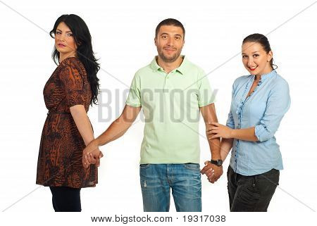 Man Between Two Women