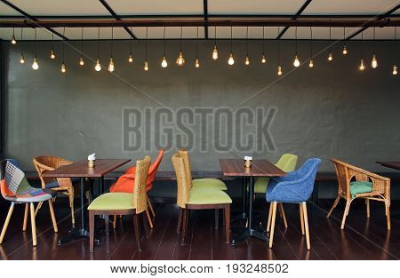 Image of table and chairs in a cafe