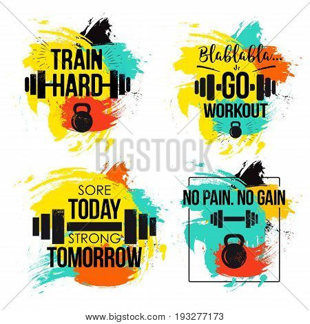 poster of Gym and fitness motivation quote set. Inspirational text to keep going to the gym to train hard and reach one goal. Vector illustration on white background