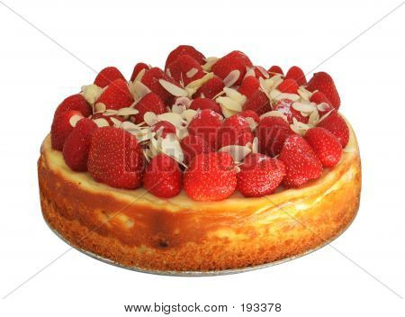 Cheese Cake With Strawberries And Almonds