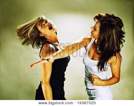 a woman hitting another woman