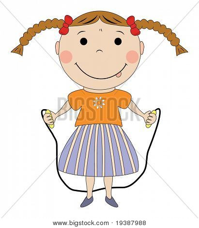 Happy girl with jumping rope